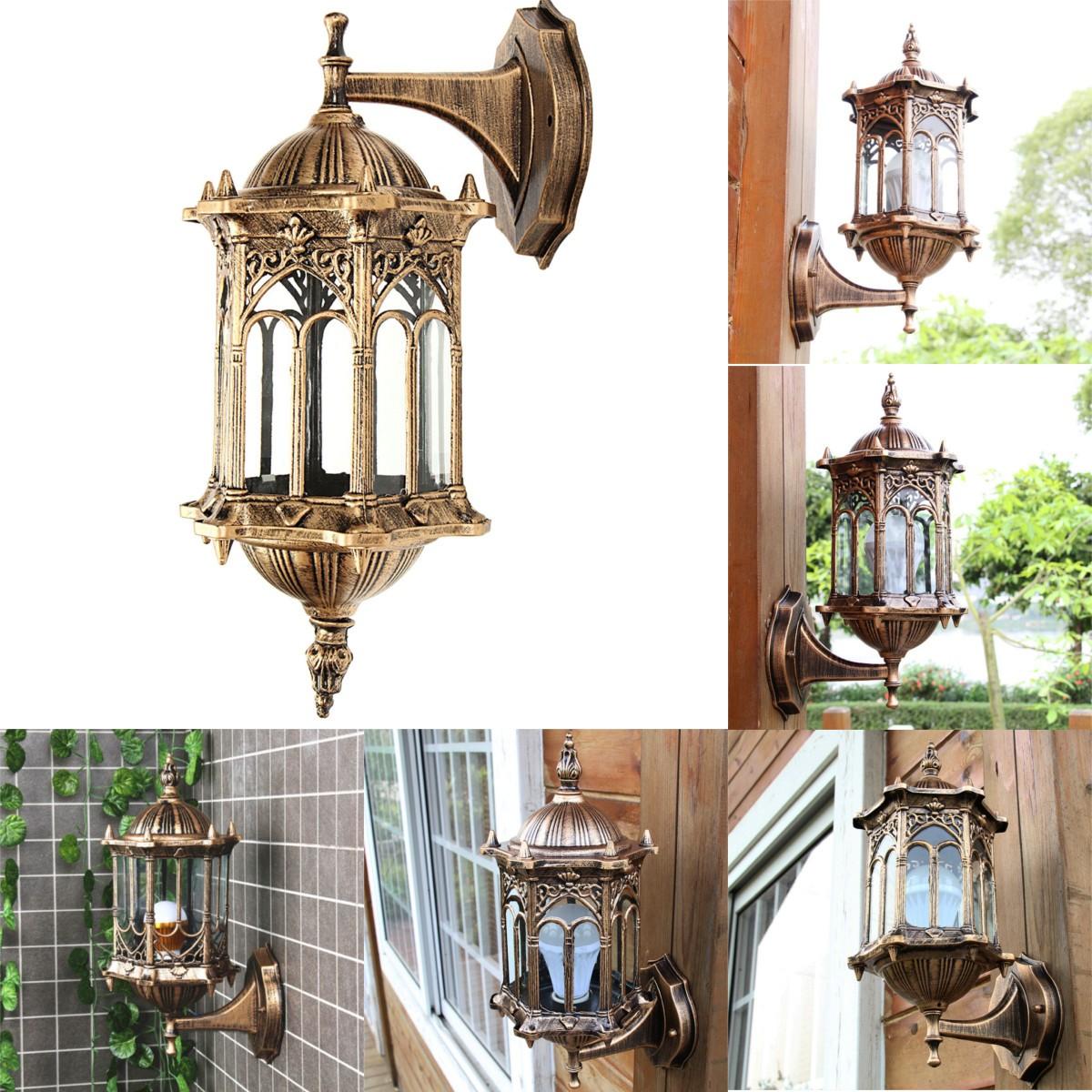 Outdoor Bronze Antique Exterior Wall Light Fixture Aluminum Glass Lantern Garden Lamp