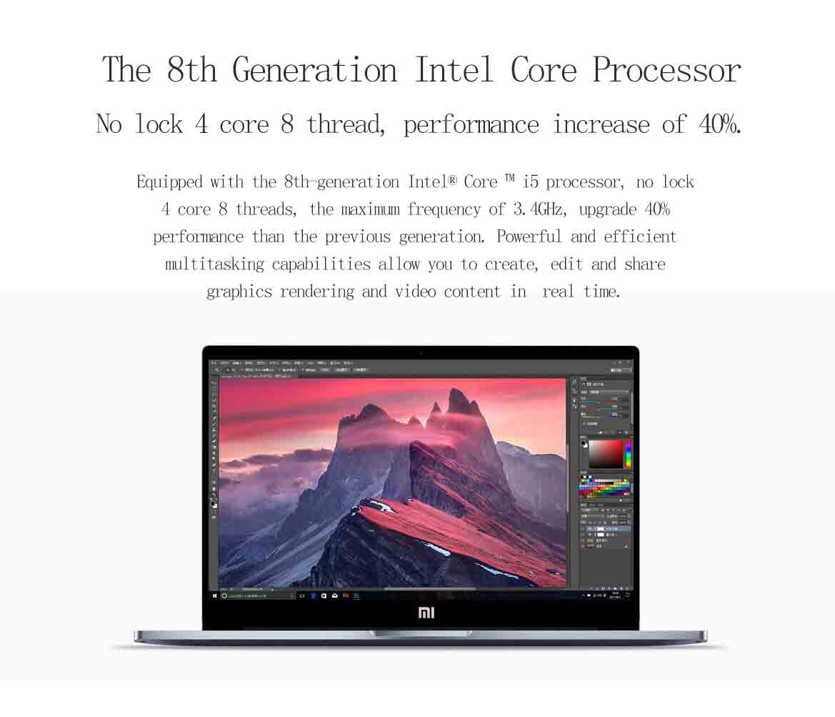 Original Xiaomi Notebook Pro Win10 15.6 Inch Intel Core i5-8250U Quad Core 8G/256GB Fingerprint Sensor Laptop
