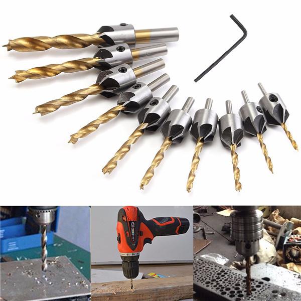 3-10mm HSS 5 Flute Countersink Drill Bit Set Carpentry Reamer Woodworking Chamfer Drill Bit