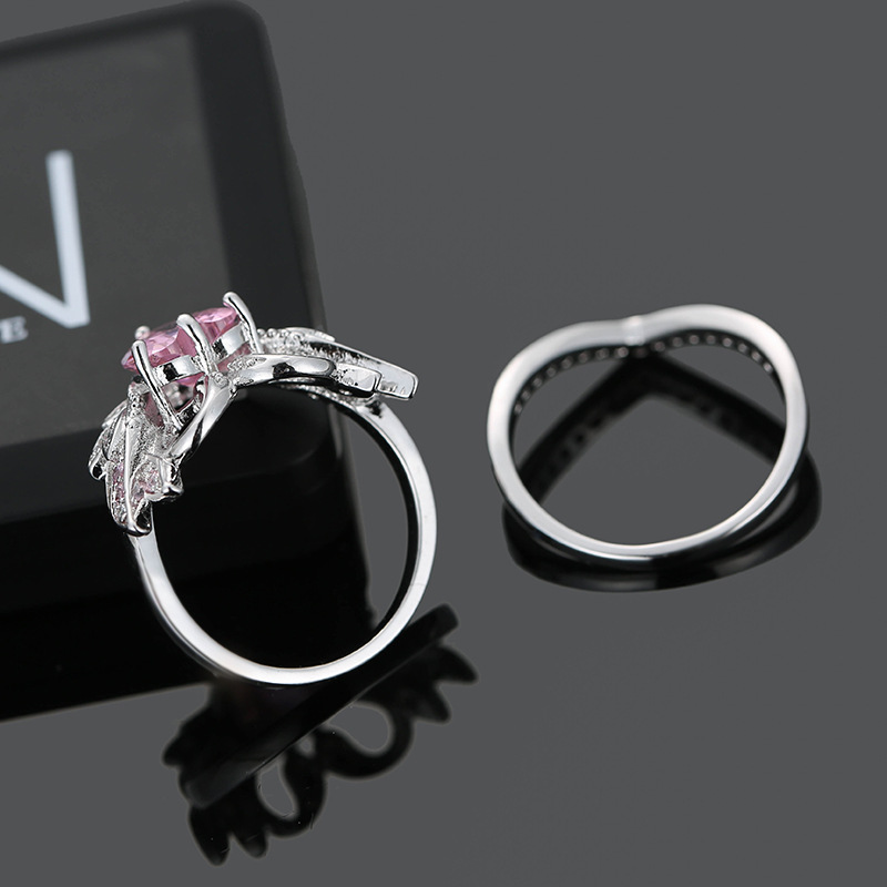 2 Pcs/set Sweet Swan Heart Zirconia Engagement Wedding Rings