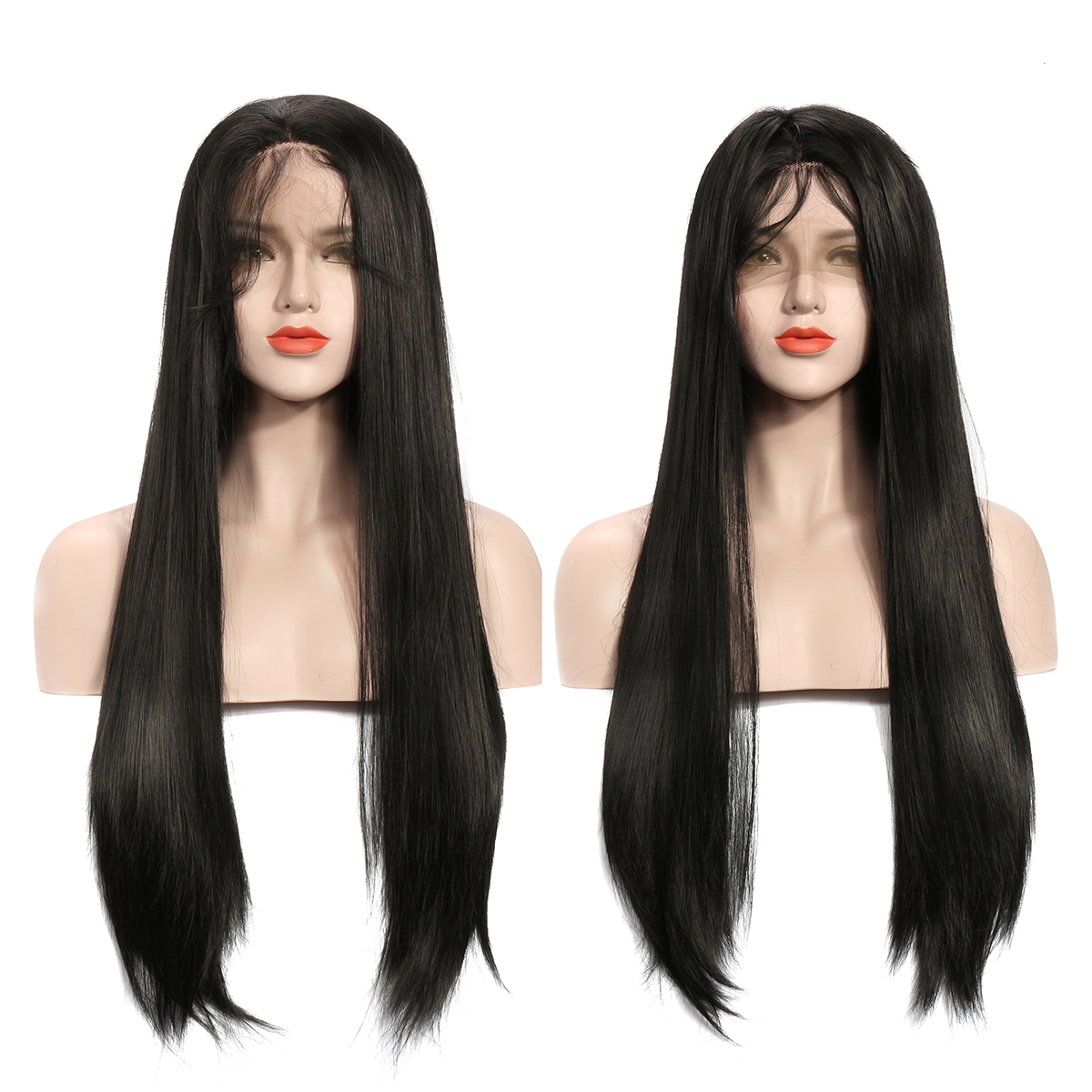 22/24 Inch Black Hair Wigs For Women Long Straight Lace