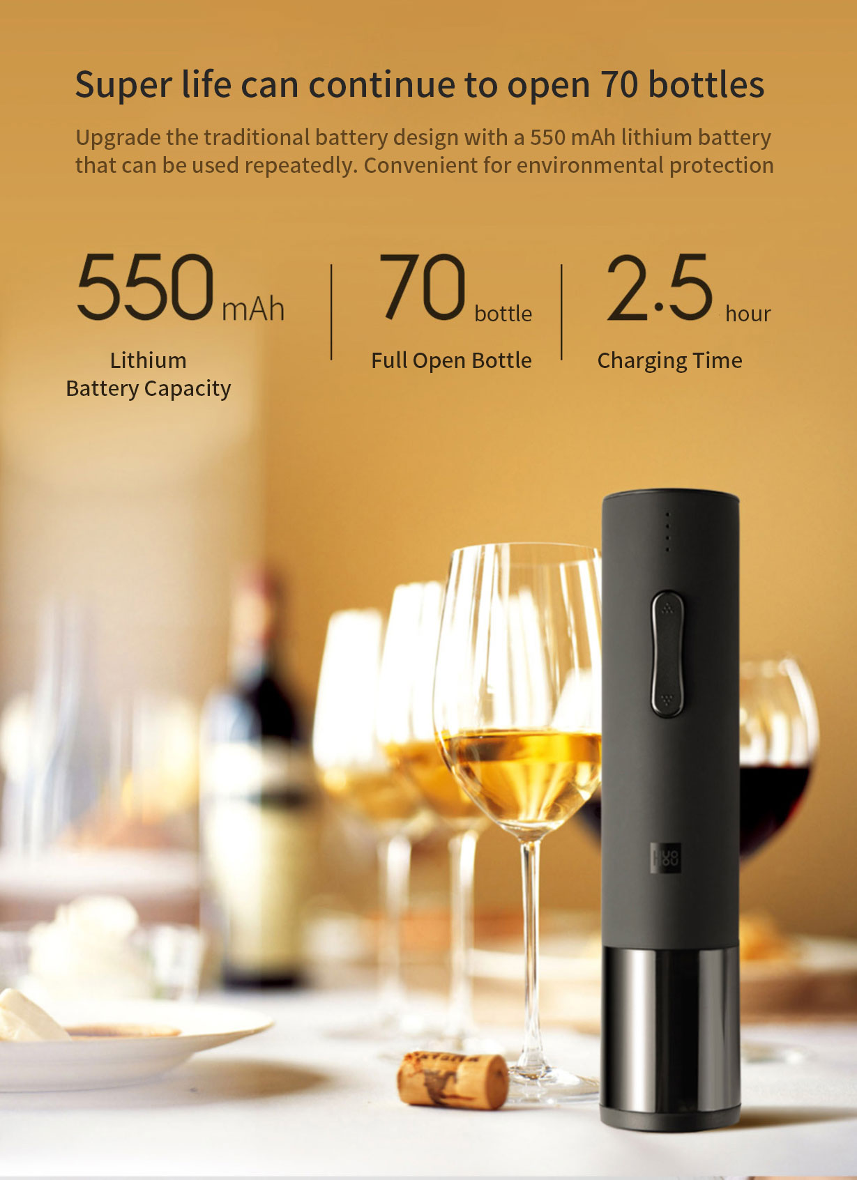 Huohou Automatic Bottle Opener Kit Electric Corkscrew With Foil Cutter From Xiaomi Youpin