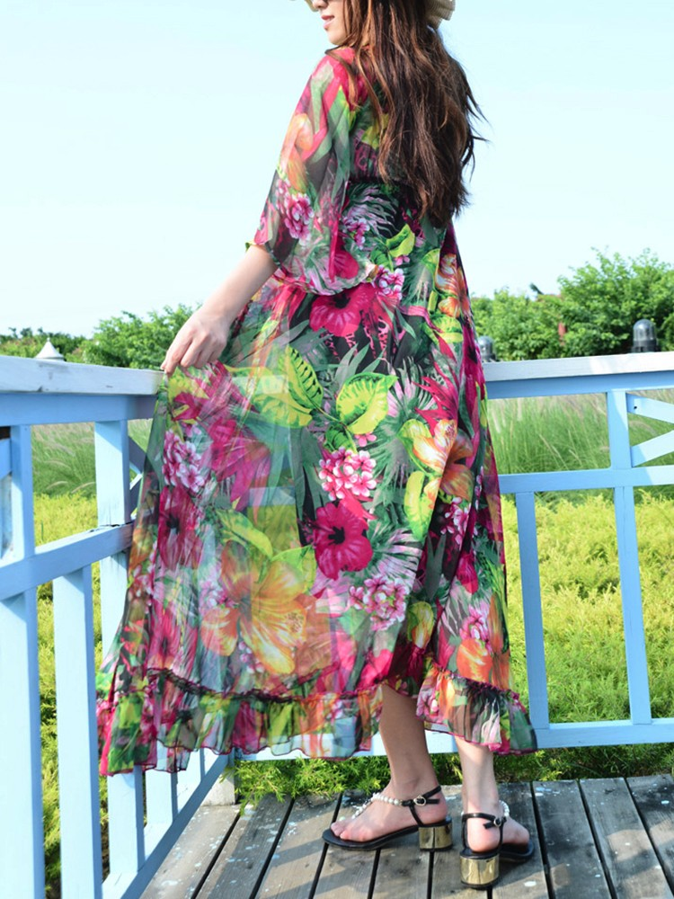 Bohemia Women Floral Print Long Sleeve Belt Chiffon Maxi Dress