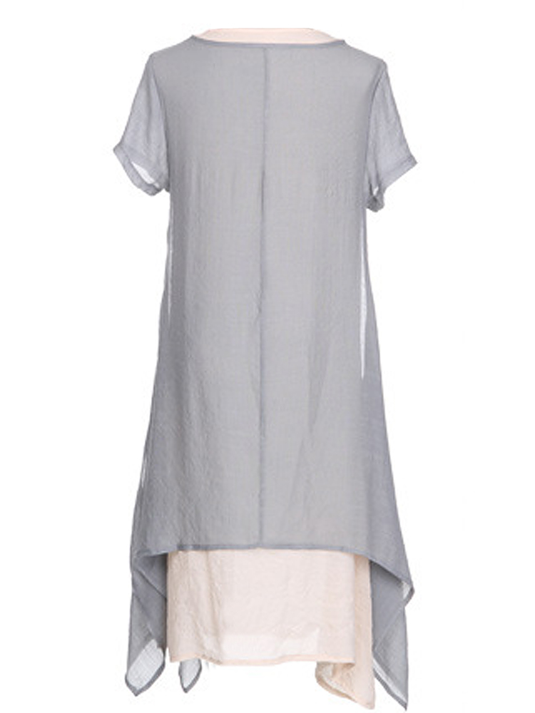 Loose Women Brief Solid Fake Two-Piece Split Cotton Linen Midi Dress