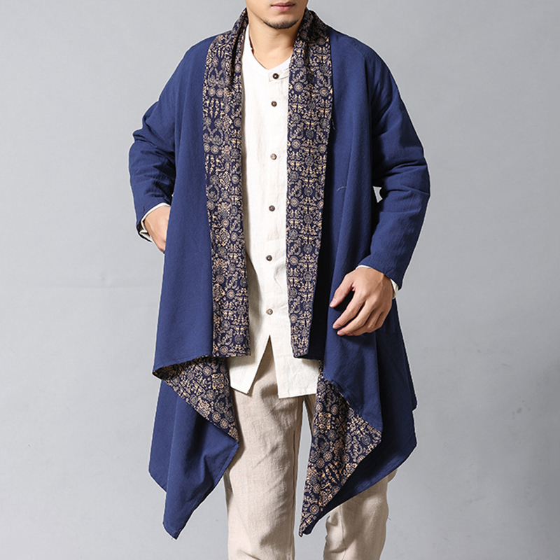 Mens Cotton Linen Shirt Cardigans Reversible Ethnic Shirts