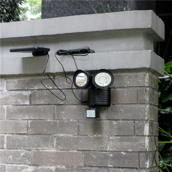 22 LED Solar Powered Double Head Motion Sensor White Light Wall Lamp Outdoor Security Flood Light