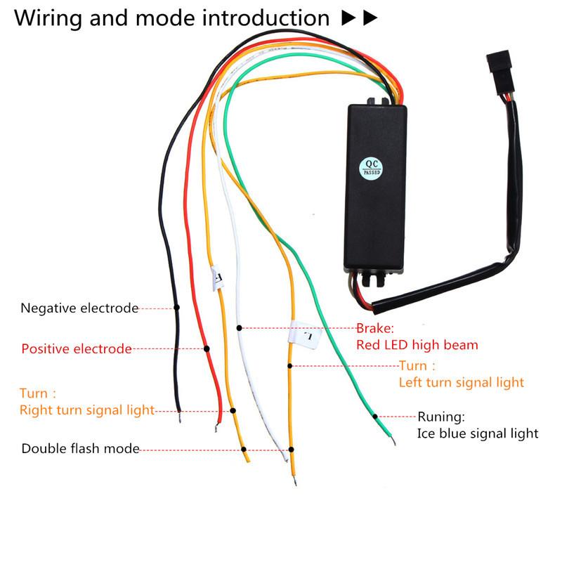 120cm 10W LED Flow Type Car Tailgate Trunk Lights Strip Bar Running Brake Reverse Turn Signal Flash