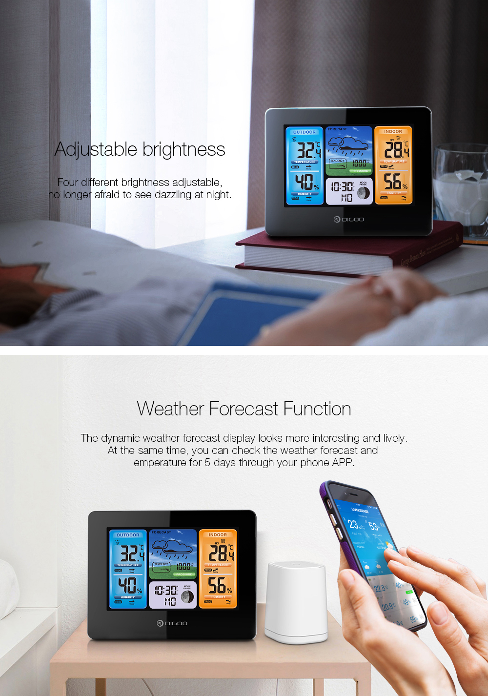 Digoo DG-EX001 WIFI APP Smart Weather Station Wireless Color Screen Temperature Humidity Outdoor Sensor Thermometer Hygrometer Weather Forecast Moon Phase