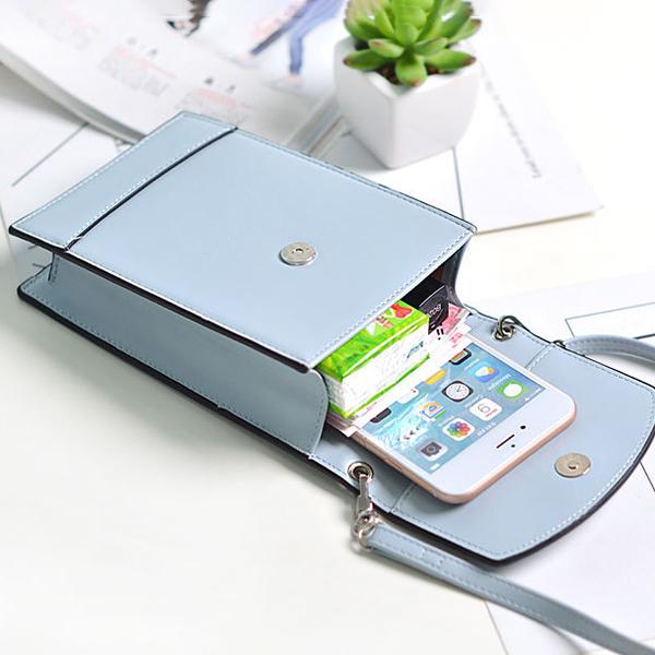 Women Faux Leather Brief Crossbody Bag Mini Phone Bag