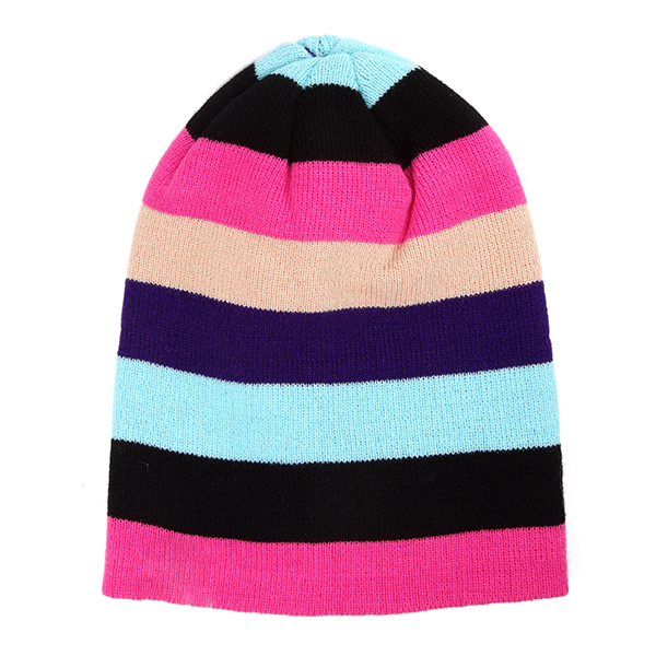 Women Beanies Striped Rainbow Colors Hat Cotton Knitted Hats Soft Beanie Gorro Cap
