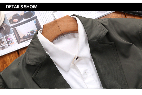 Mens Casual Business Suit Solid Color Slim Fit Blazers Spring Suit Collar Coat