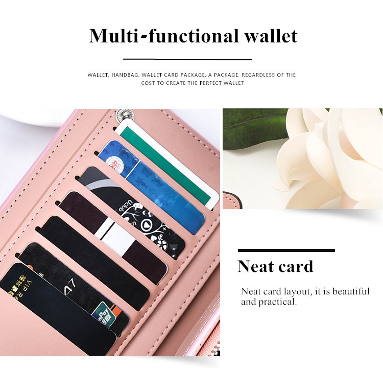 Curewe Kerien Woman PU Zipper Wallet Handbag Purse Bag Sim Card Slot For 5.5 Inch Smartphone