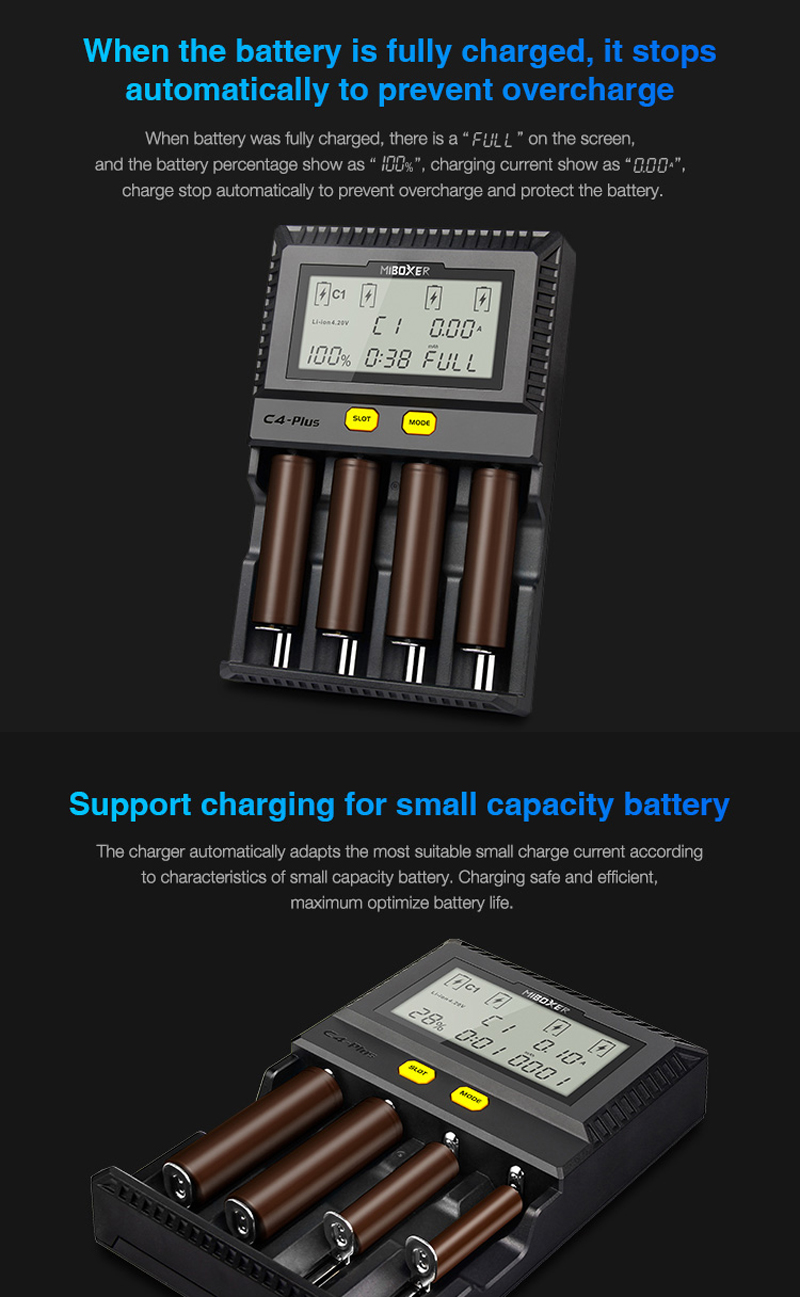 Miboxer C4-Plus 4 Slots LCD Display 2.5A Fast Charging Smart Battery Charger For AA AAA 18650 26650 21700 18350 16340 Most Batteries