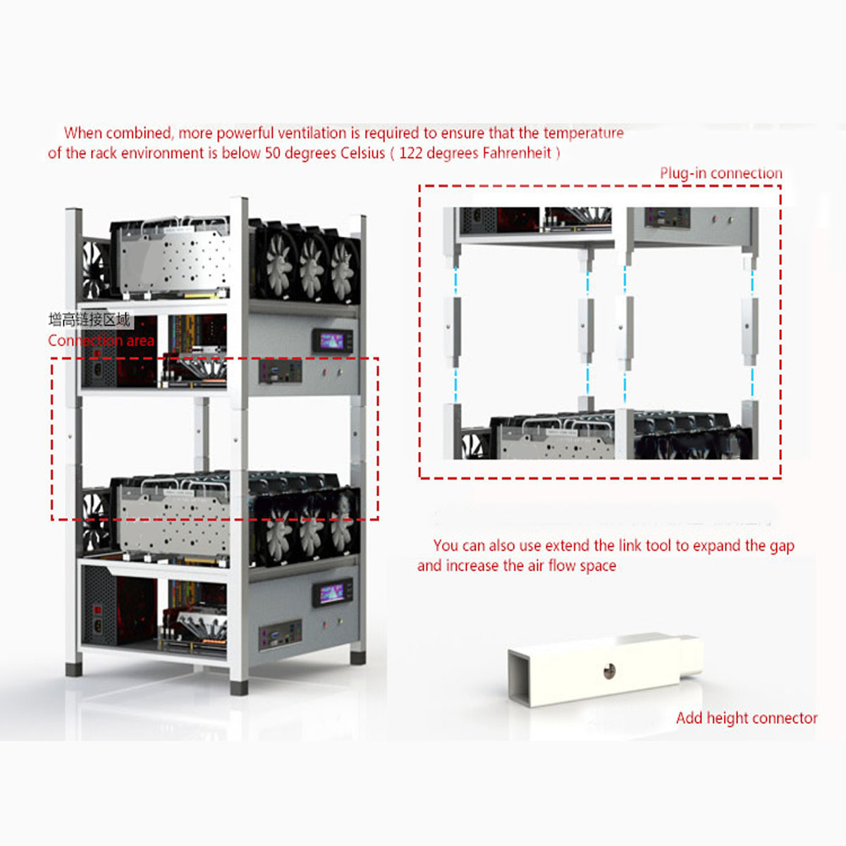 Coin Miner Minning Case BX36 Mining Frame Case with 6 Fans
