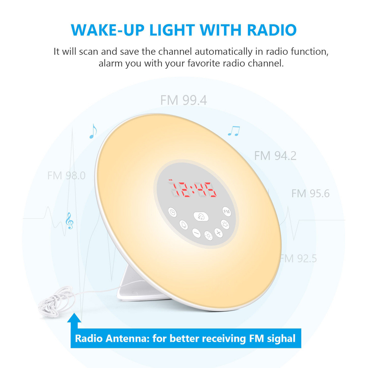 Wake Up Light Sunrise Alarm Clock LED FM Radio Sound Night 7 Color Lamp