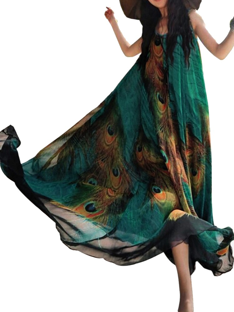 Gracila Peacock Print Chiffon Bohemian Maxi Dress