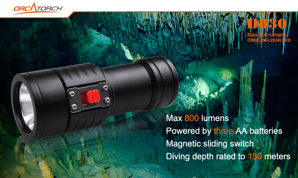 Underwater 150m OrcaTorch D830 2 U4 800LM 3Modes Magnetic sliding Dual Switch Easy Operation Portable Tactical Diving Flashlight