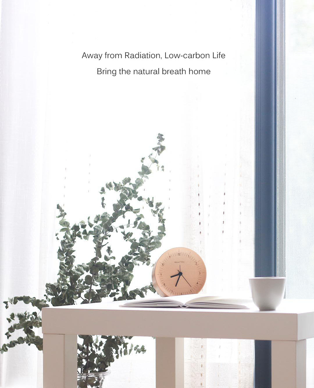 About Time Mute Logs Original Wooden Alarm Clock Quality Fashionable Table Clock with Metal Pointer from xiaomi youpin