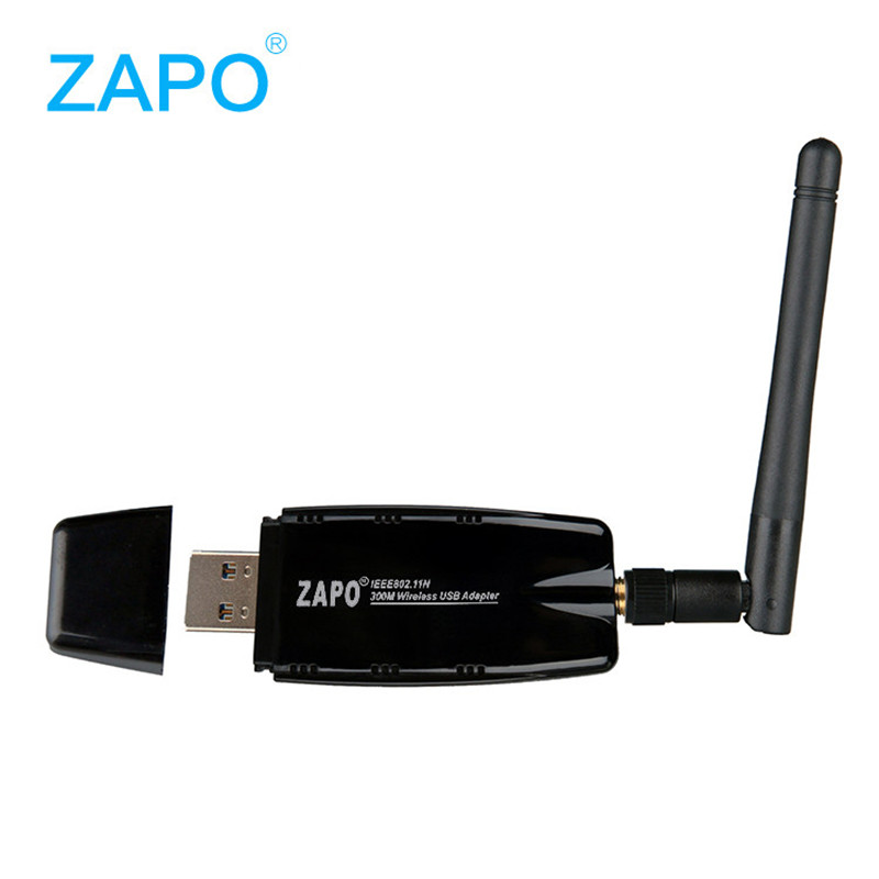 ZAPO W60-2DB 300Mbps Wireless USB WiFi Network Card LAN Adapter Dongle for PC Laptop with Antenna