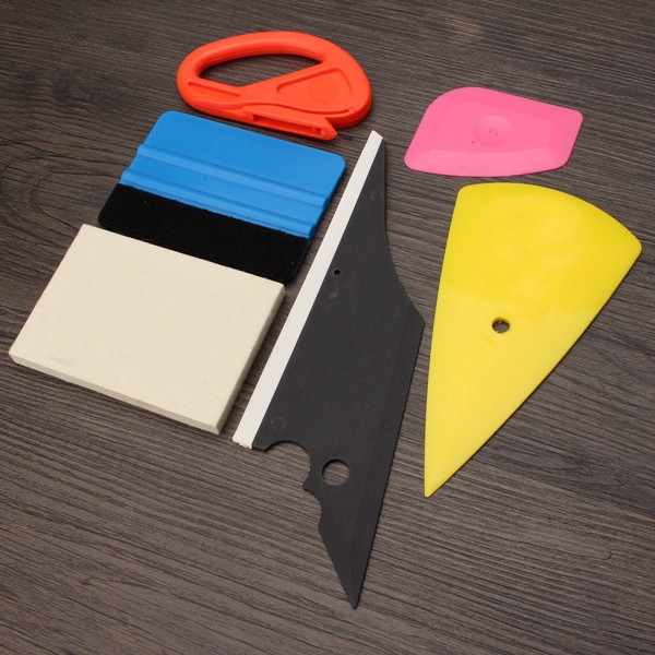 6pcs Window Tinting Tool Glass Vinyl Sticker Scraper Felt Squeegee Cutter