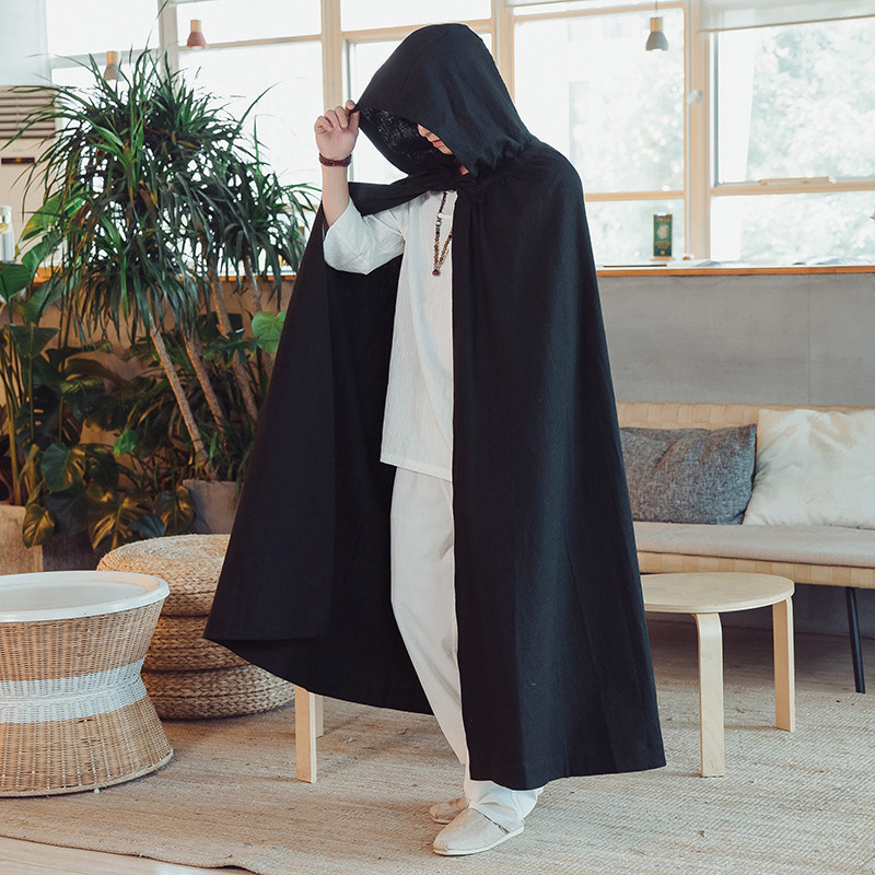 Vintage Hooded Cloak Loose Long Cape Coats Cosplay Costume
