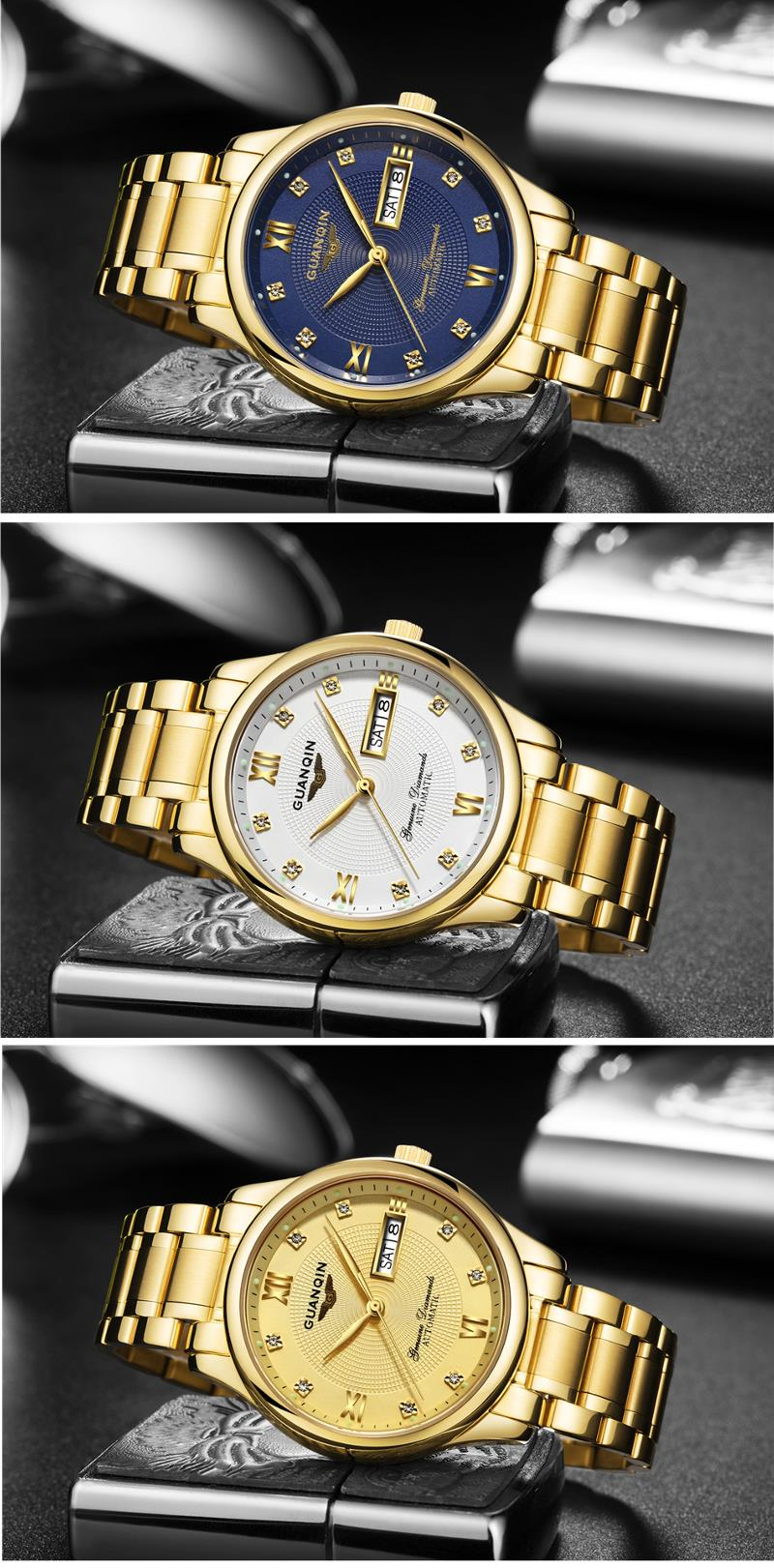 GUANQIN GJ16050 Luxury Men Mechanical Watch Gold Fine Steel Strap Automatic Wrist Watch