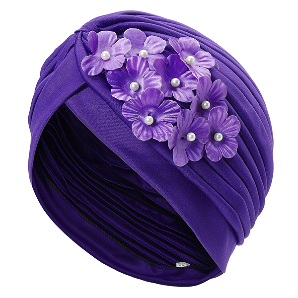 Flower Slouch Skull Caps Stretchable Earmuffs Bonnet Hat