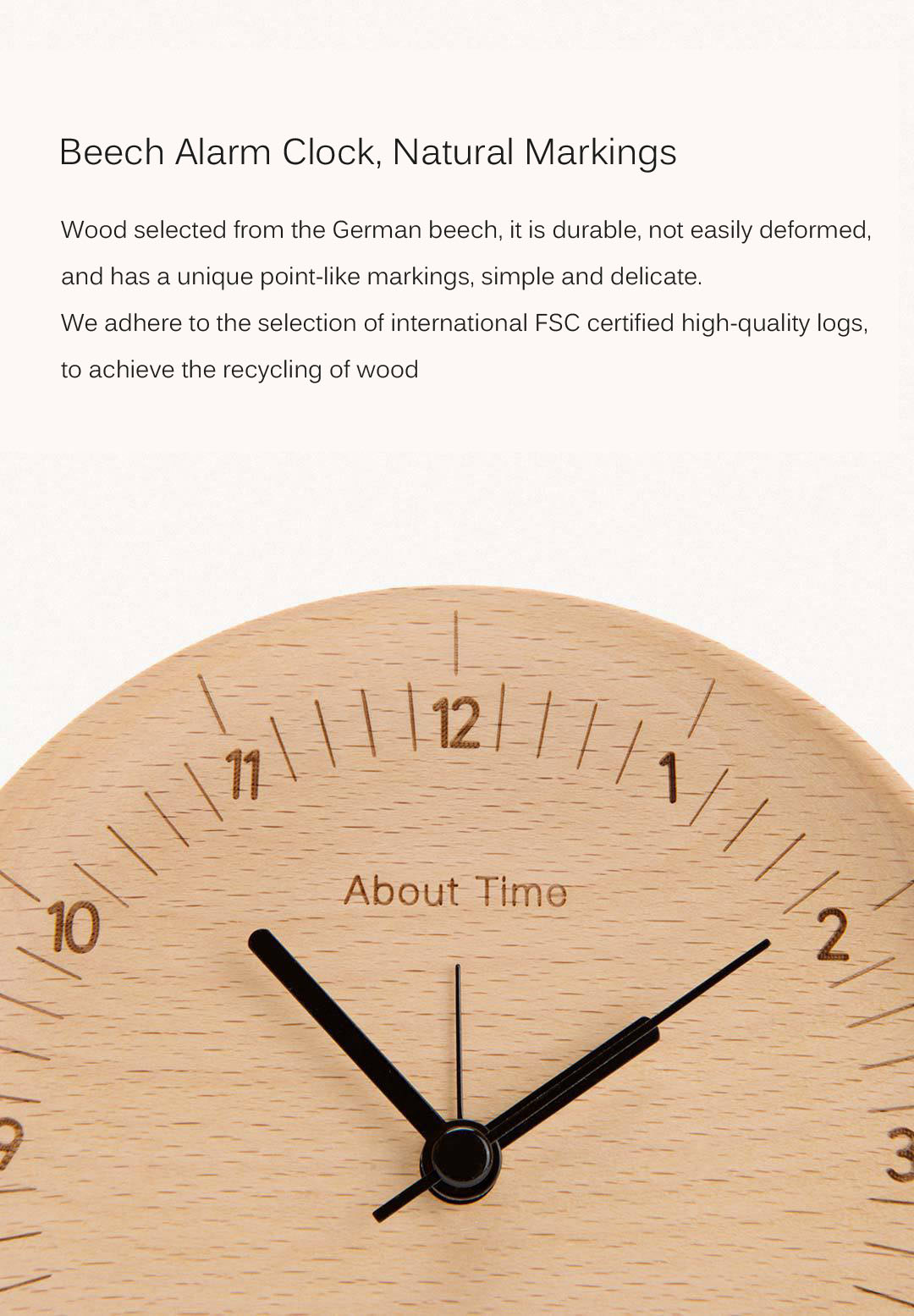 Xiaomi About Time Mute Logs Original Wooden Alarm Clock Quality Fashionable Table Clock with Metal Pointer