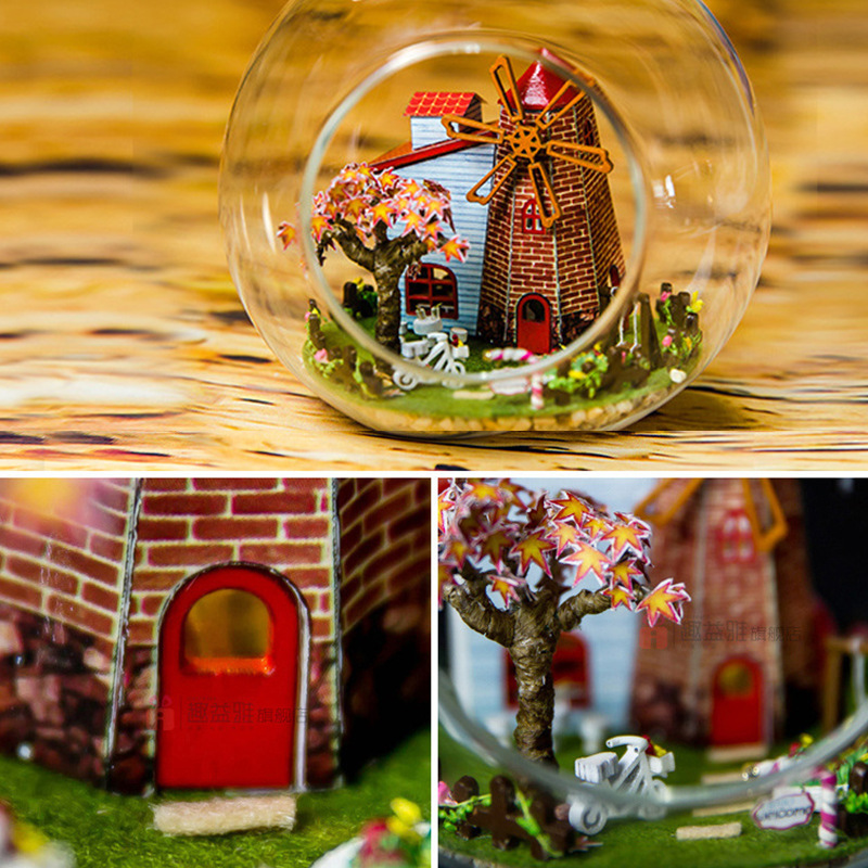 iiecreate G-014 Travel To Holland DIY Dollhouse Tower Glass Ball Mini House Assembled Toys