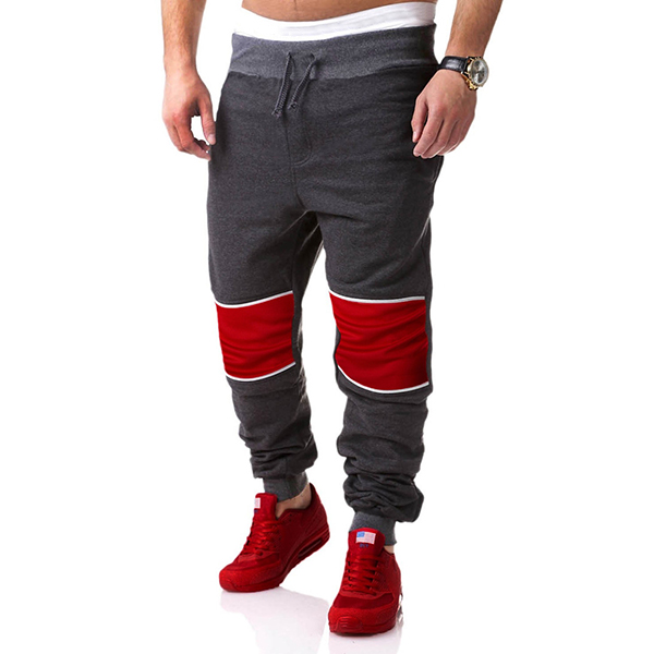 Mens Casual Stitching Sport Jogger Pants Fitness Running Loose Cotton Sweatpants