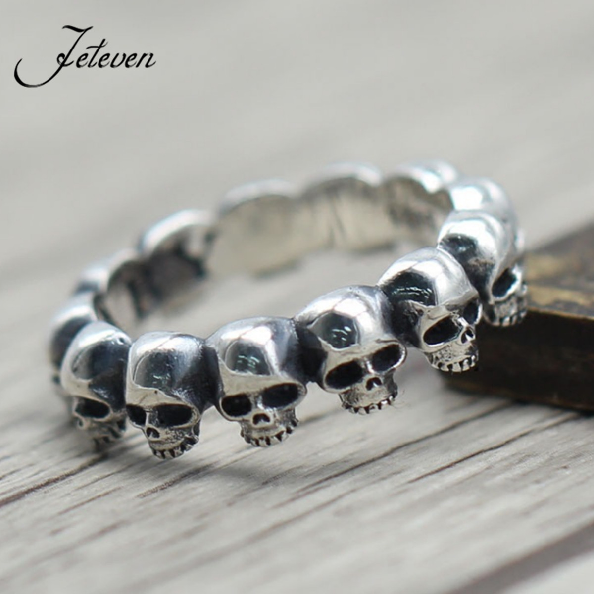 925 Sterling Silver Gothic Skull Skeleton Band Finger Ring