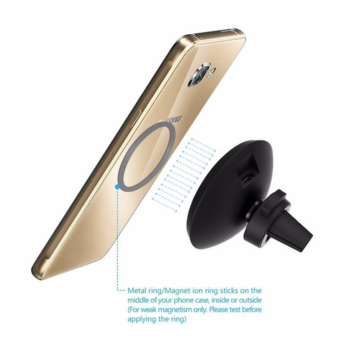 W3 QI Standard Car Magnetic Charger Wireless Charger 5.0V-1A (MAX) Outlet Clamp Contains Magnetic Ri