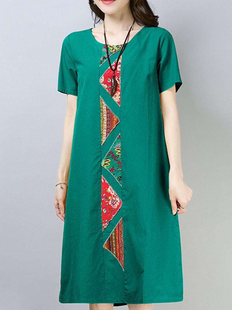 Vintage Women Cotton Loose Short Sleeve Mid Long Dress
