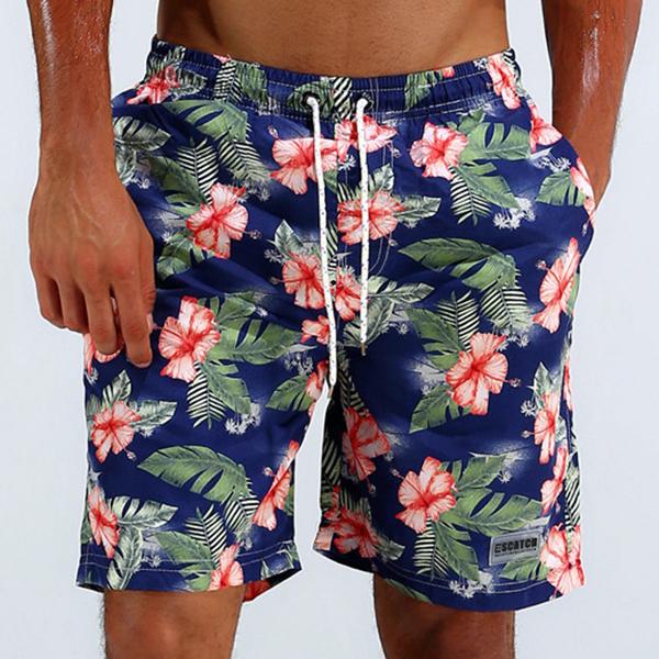 ESCATCH Summer Hawaiian Thin Loose Quick Dry Knee Length Flower Printing Board Short for Men
