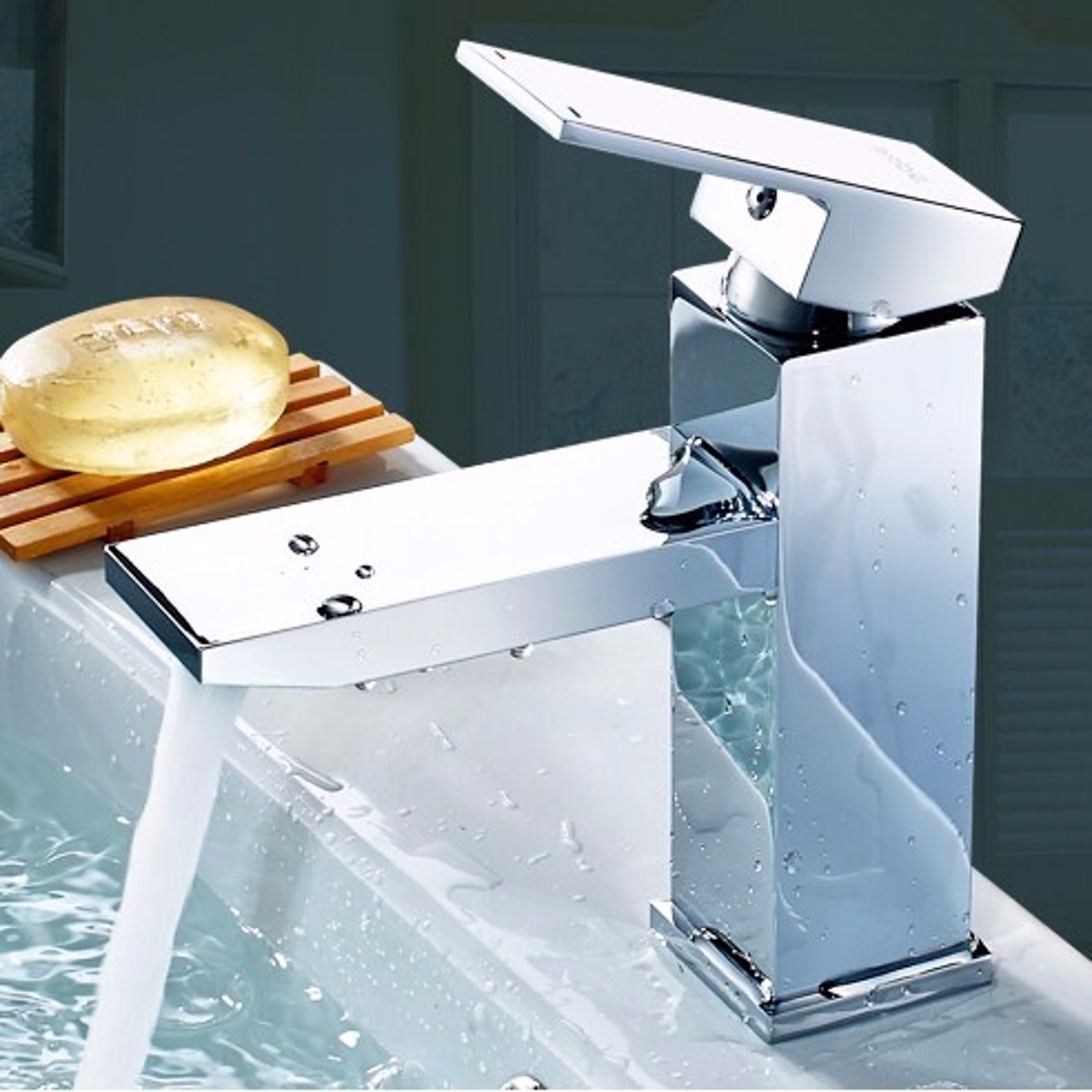 Bathroom Basin Sink Water Mixer Tap Faucet Square Single Lever Handle & 2 Hose