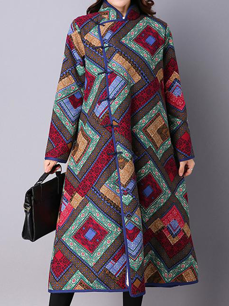 Vintage Printing Long Sleeve Plus Thick Velvet Stand Collar Long Coat