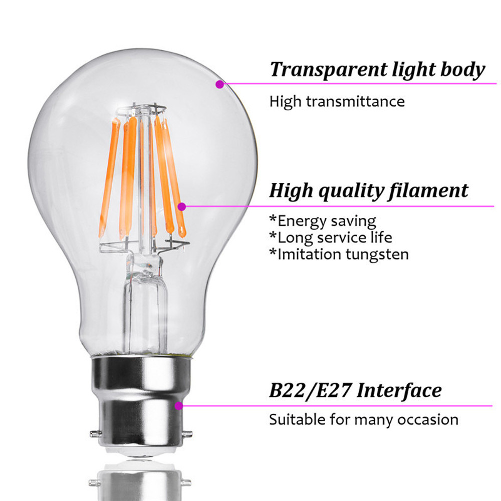 E27 B22 6W A60 Non-Dimmable COB LED Plant Grow Light Bulb for Hydroponics Greenhouse AC85-265V