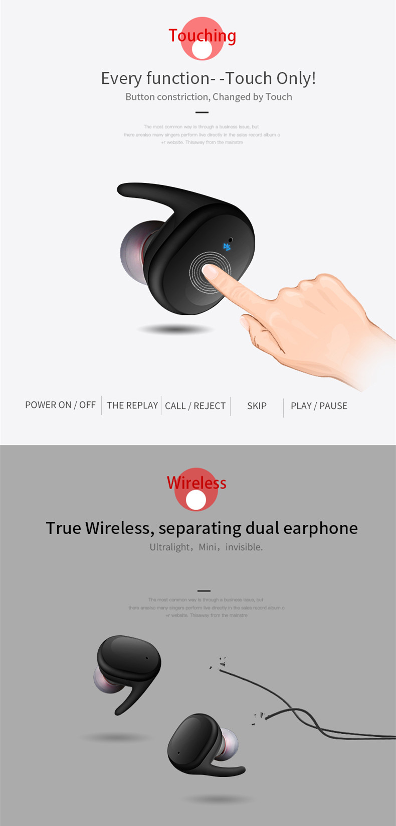 [Truly Wireless] Mini Stealth Stereo Wireless bluetooth Dual Earphone Headphones With Charging Box