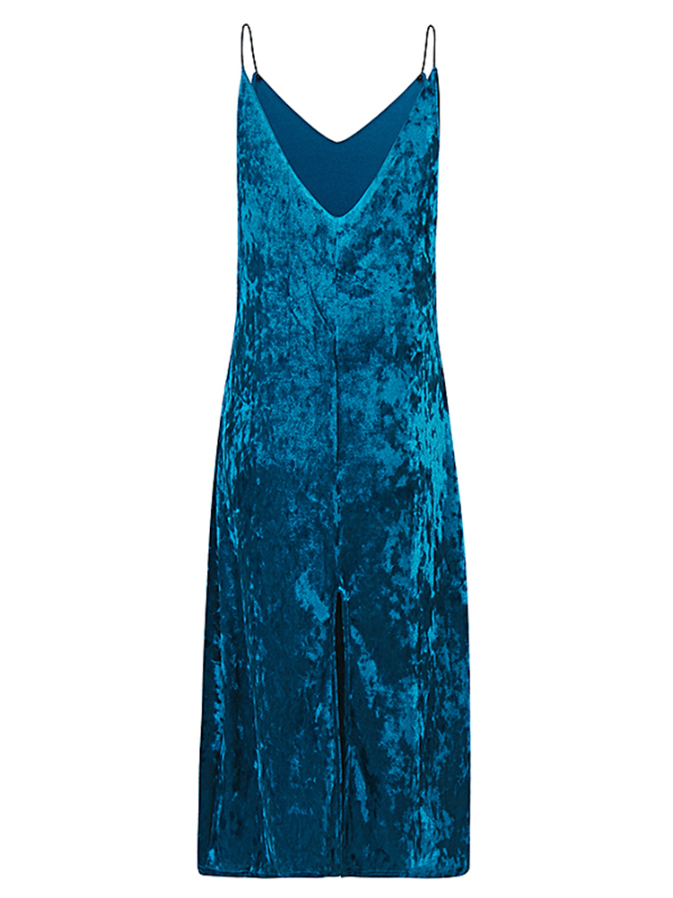 Sexy Women V-neck Velvet Harness Sleeveless Split Hem Pure Color Dresses