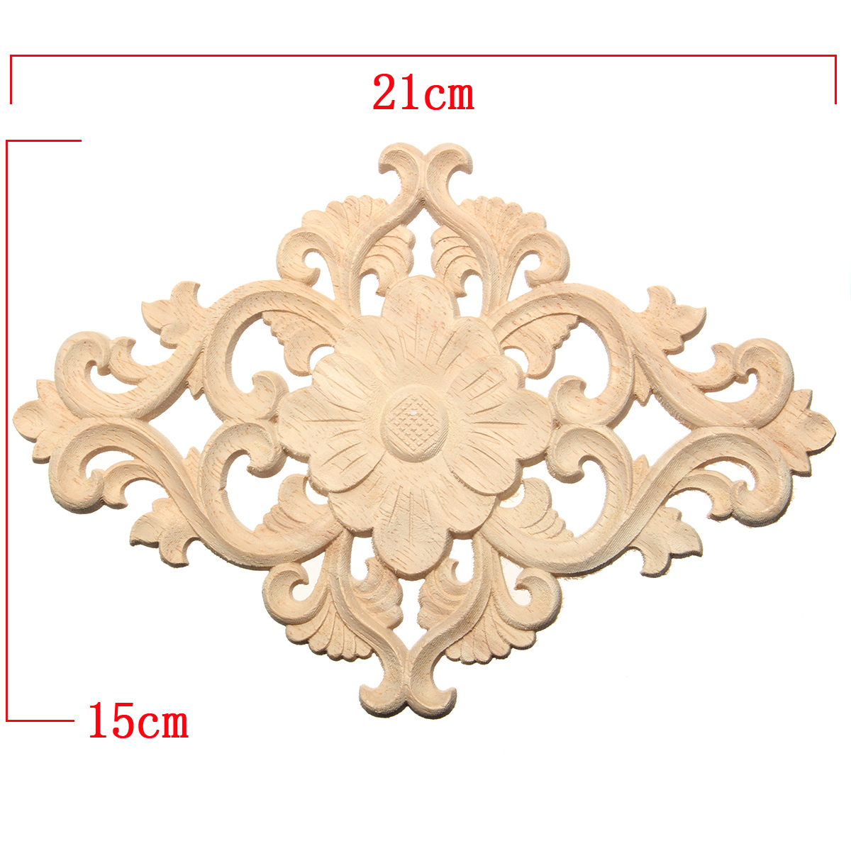 Wood Carving Applique Unpainted Onlay Flower Pattern Door Furniture Cabinet Decal Decor