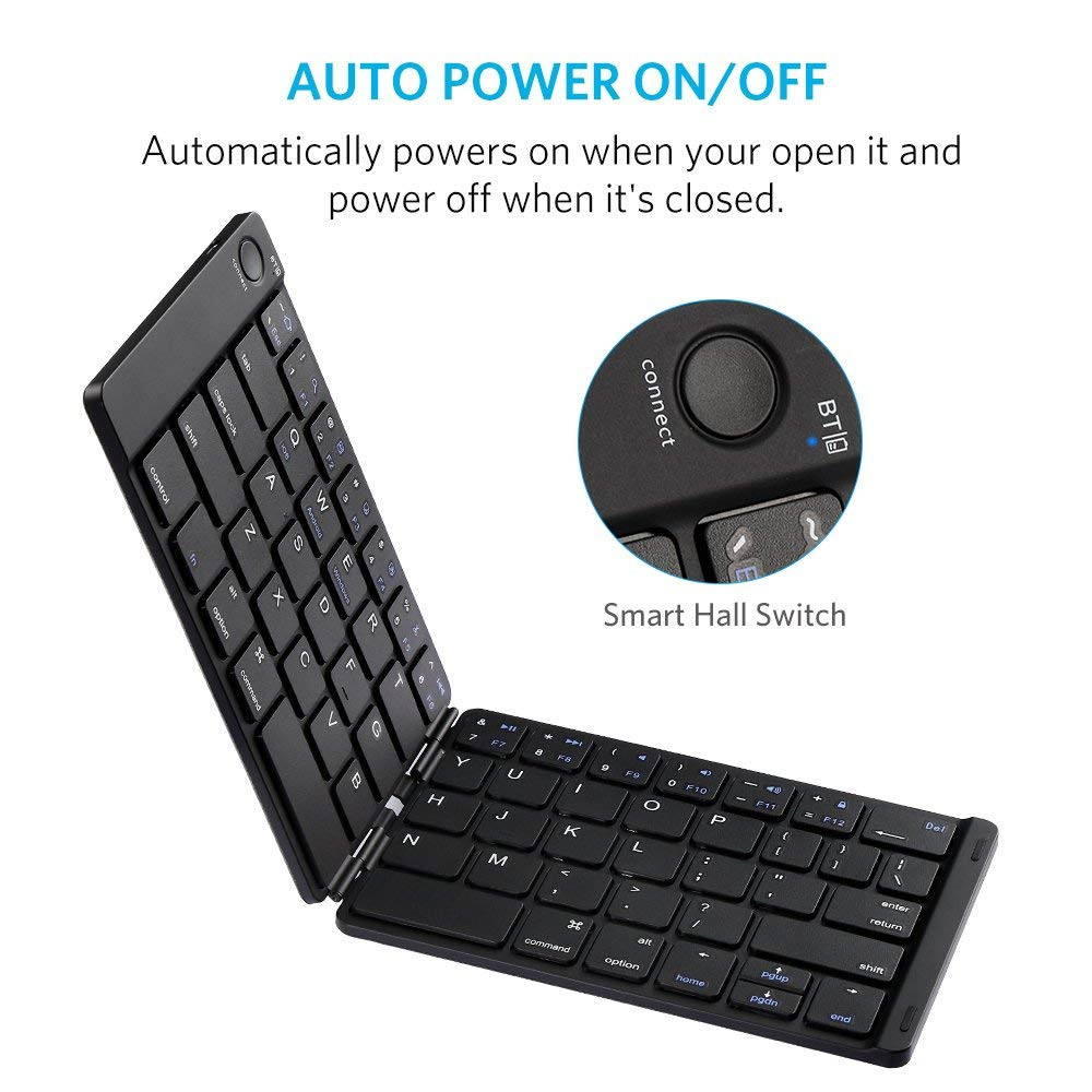 Automatically Folding Wireless bluetooth Keyboard For Tablet Smartphone