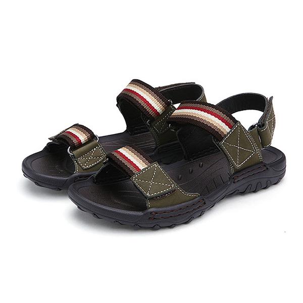 Men Comfortable Leather Hook Loop Sandals