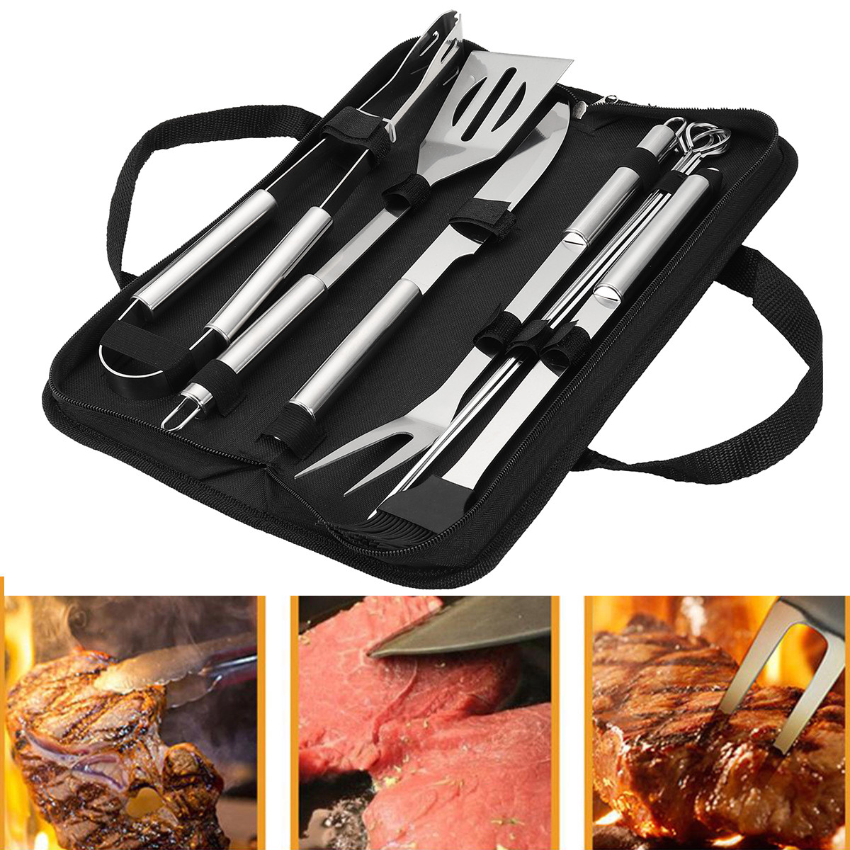 10Pcs Picnic BBQ Barbecue Tool Set Stainless Steel Grill Tableware Accessories