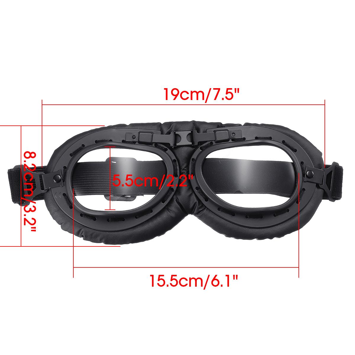 Motorbike Vintage-Pilot Helmet Motorcycle Goggles Windproof Clear Lens Glasses