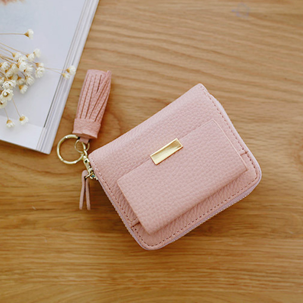 Women Candy Color Tassel Short Wallets Girls Zipper Purse Card Holder Coin Bags