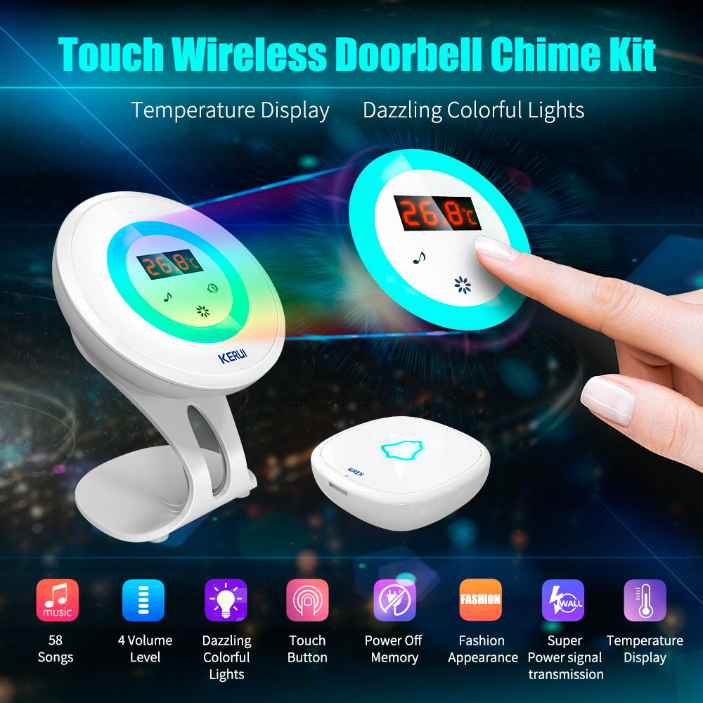 KERUI F52 Waterproof Touch Doorbell Wireless SOS Emergency Button for Home Alarm System 433MHz