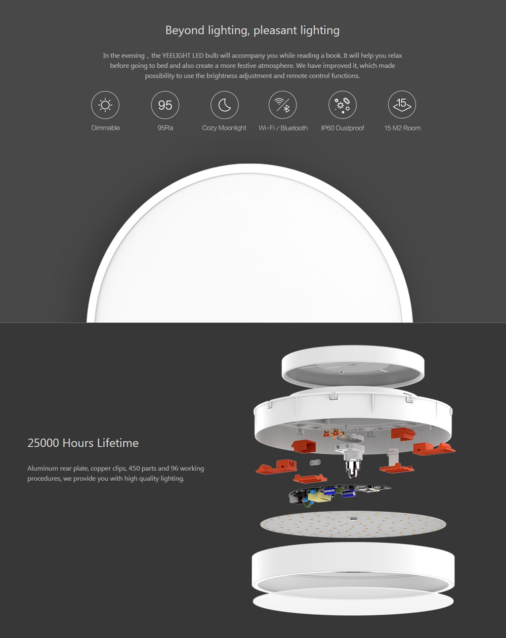 Yeelight YLXD01YL 28W Round LED Ceiling Light Smart APP bluetooth WiFi Control IP60 Dustproof (Xiaomi Ecosystem Product)