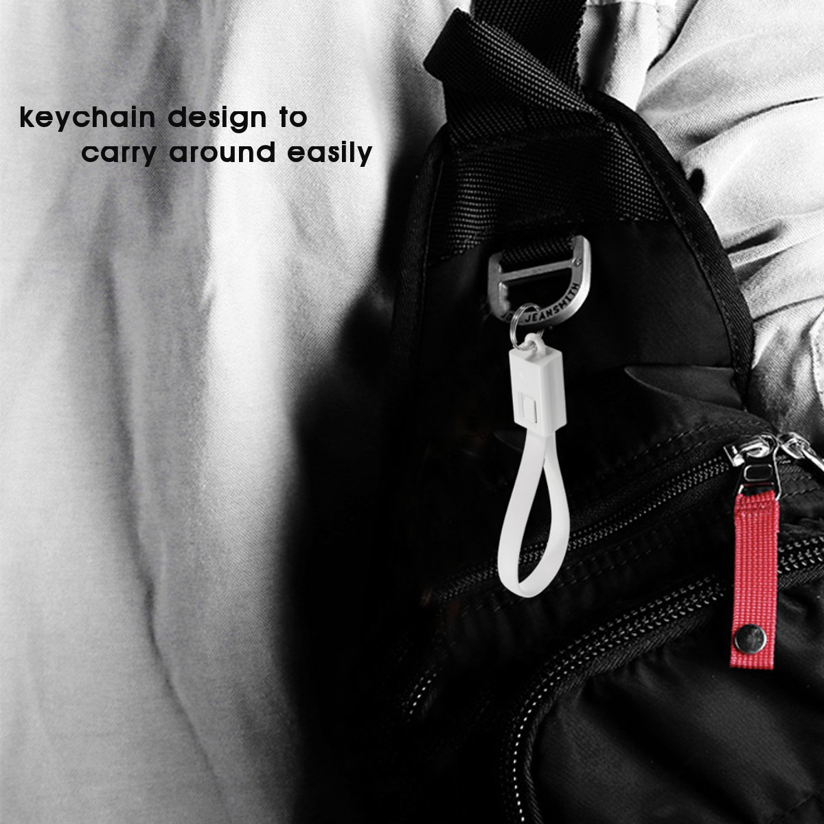 Type C to USB 2.0 Fast Charging 0.2m/0.66ft Sync Data Cable Keychain Key Ring