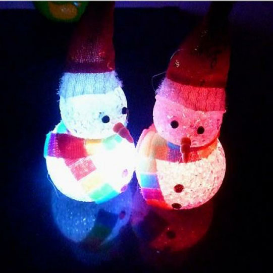 Christmas LED Flash Light Cute Snowman Christmas Party Decoration Ornament Kids Toy Dolls Gift