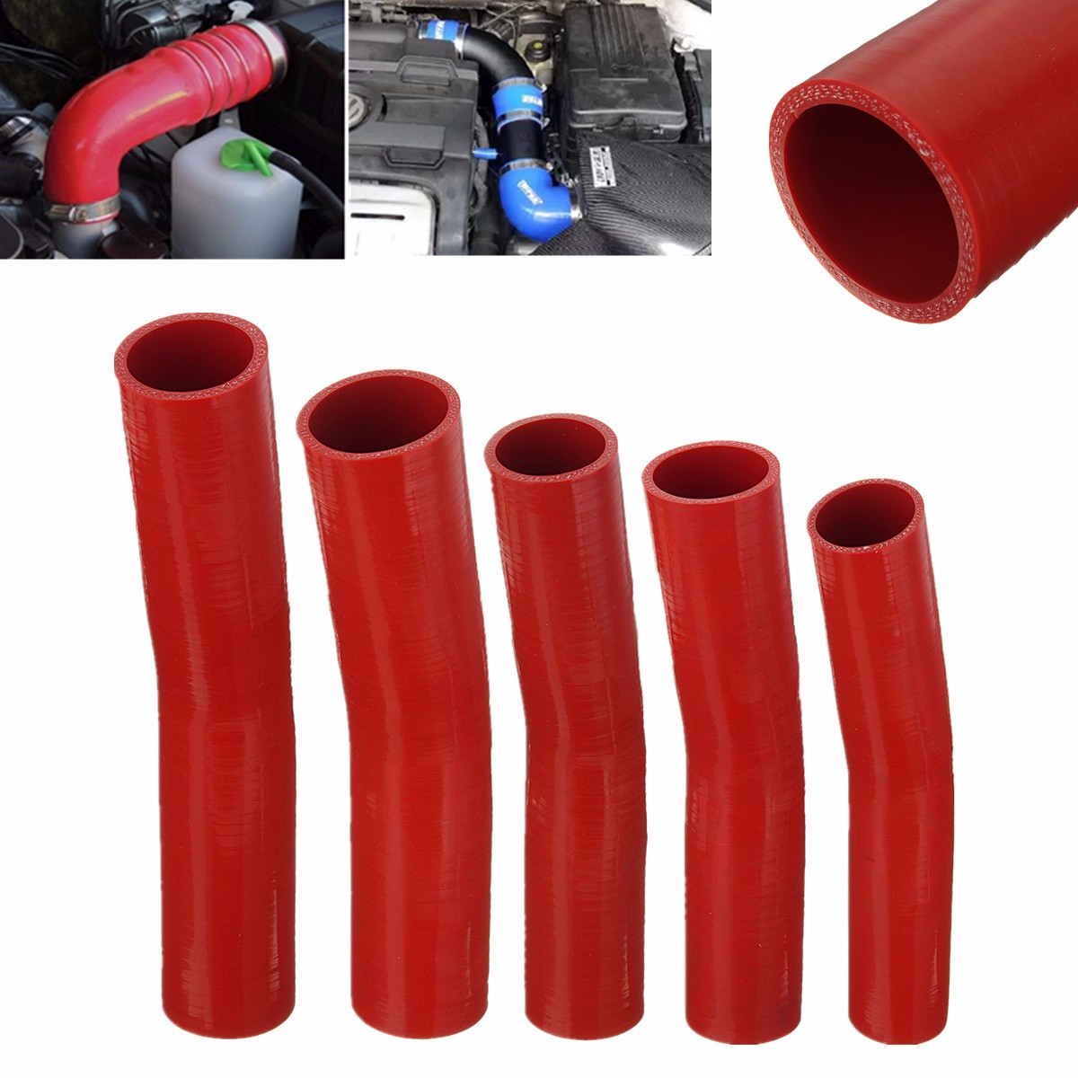 Auto Silicone Hoses Rubber 15 Degree Elbow Bend Hose Air Water Coolant Joiner Pipe Tube